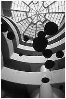 Interior of the Guggenheim Museum. NYC, New York, USA (black and white)
