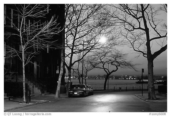 Street in Brooklyn at sunset. NYC, New York, USA (black and white)