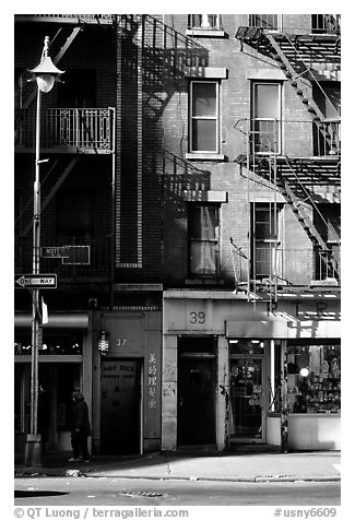 Street in Chinatown. NYC, New York, USA (black and white)