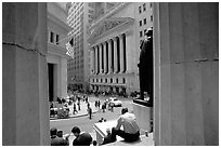 Wall Street stock exchange (NYSE). NYC, New York, USA ( black and white)