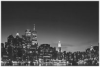 South Manhattan and World Trade Center from Brooklyn, dusk. NYC, New York, USA (black and white)