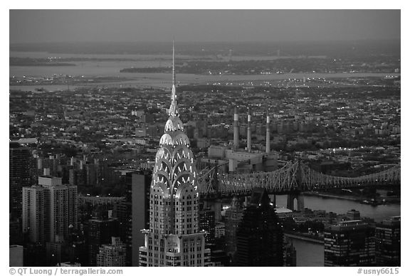 Black And White Picture Photo Chrysler Building Seen From The Empire State Nightfall NYC New York USA