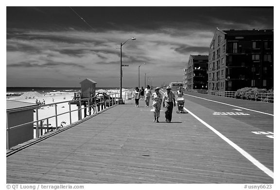 Boardwalk on Long Beach. Long Island, New York, USA (black and white)