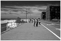 Boardwalk on Long Beach. Long Island, New York, USA ( black and white)