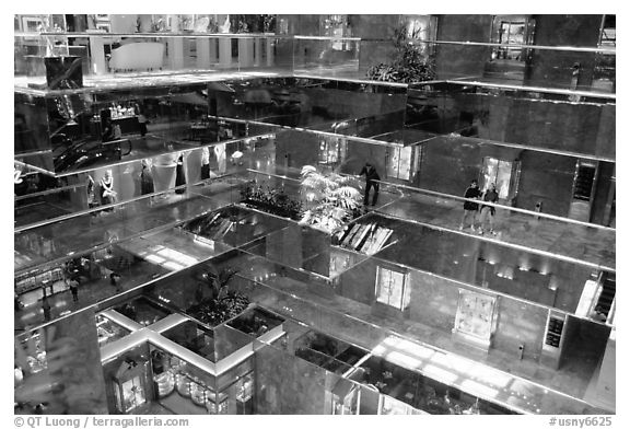 Inside the Trump Tower. NYC, New York, USA (black and white)