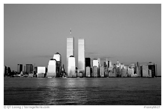 South Manhattan skyline and World Trade Center towers, late afternoon. NYC, New York, USA (black and white)