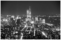Lower Manhattan seen from the Empire State Building at night. NYC, New York, USA (black and white)