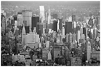Forest of skycrapers of Upper Manhattan, seen from the World Trade Center. NYC, New York, USA ( black and white)