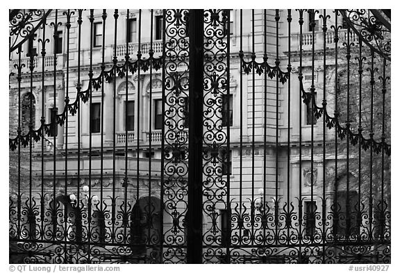 The Breakers seen through entrance gate grid. Newport, Rhode Island, USA (black and white)
