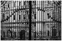 The Breakers seen through entrance gate grid. Newport, Rhode Island, USA ( black and white)