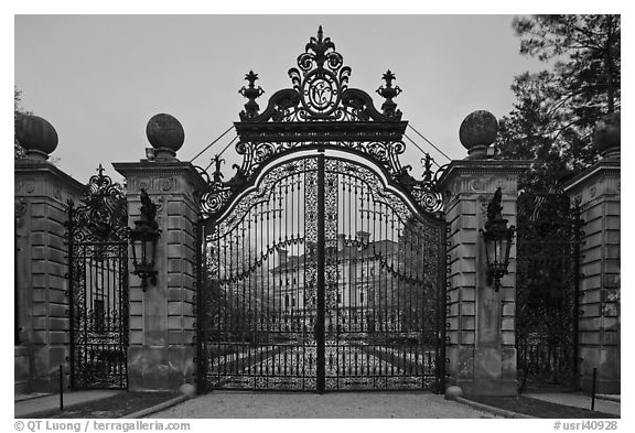 Entrance gate of the Breakers mansion at dusk. Newpor
