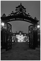 Entrance gate and Salve Regina University at night. Newport, Rhode Island, USA ( black and white)