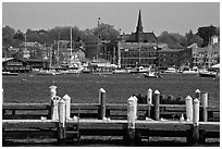 Harbor and waterfront. Newport, Rhode Island, USA ( black and white)