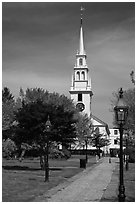Park and white-steepled church. Newport, Rhode Island, USA ( black and white)