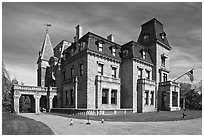 Chateau-sur-Mer, the first of Newport palatial summer mansions. Newport, Rhode Island, USA ( black and white)