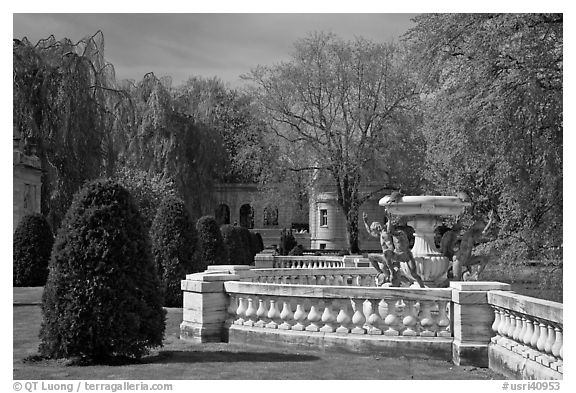 Grounds of The Elms. Newport, Rhode Island, USA (black and white)