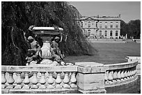 Statues and mansion in French eighteenth-century style. Newport, Rhode Island, USA ( black and white)