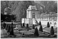 Pavilions and formal garden, The Elms. Newport, Rhode Island, USA ( black and white)