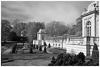 Sunken garden and pavilions, The Elms. Newport, Rhode Island, USA ( black and white)