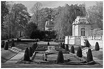 Sunken garden, The Elms. Newport, Rhode Island, USA (black and white)