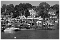 Recreational harbor on the Providence River. Providence, Rhode Island, USA ( black and white)