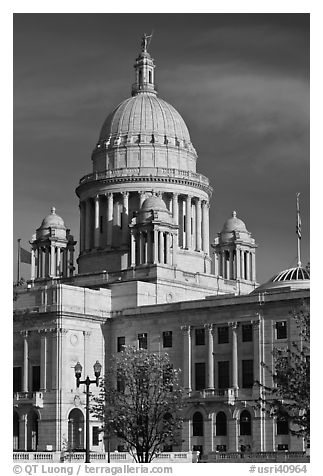 Rhode Island State House, with fourth largest marble dome in the world. Providence, Rhode Island, USA (black and white)