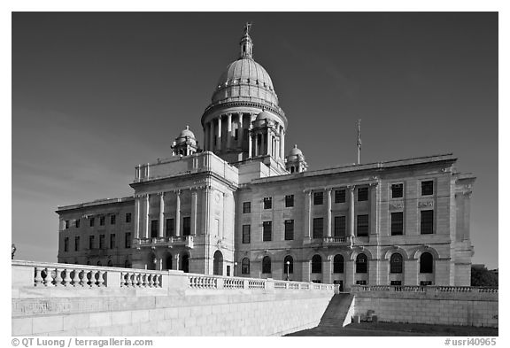 North Facade of Rhode	Island capitol. Providence, Rhode Island, USA (black and white)