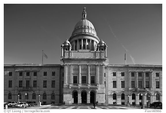 North Facade of Rhode	Island State House. Providence, Rhode Island, USA (black and white)