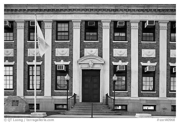 Historic building with inscriptions referring to Providence Plantations. Providence, Rhode Island, USA (black and white)