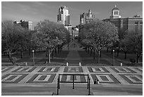 Gardens of State House with couple sitting on stairs. Providence, Rhode Island, USA (black and white)