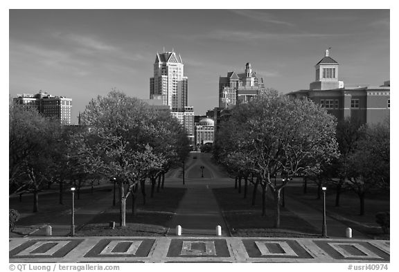 Gardens of State House and downtown high-rise buildings. Providence, Rhode Island, USA (black and white)