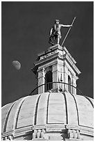 Moon, Dome and gold-covered bronze statue of Independent Man. Providence, Rhode Island, USA ( black and white)