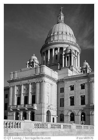Rhode Island Capitol in neo-classical style, late afternoon. Providence, Rhode Island, USA (black and white)