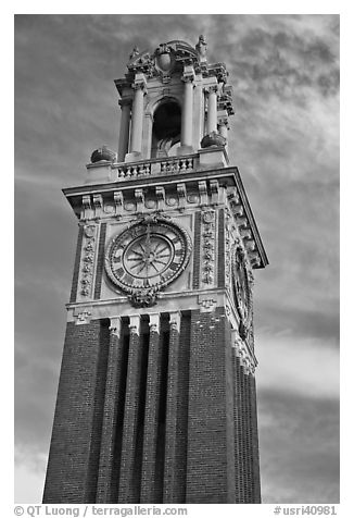 Carrie Tower, at sunset, Brown University. Providence, Rhode Island, USA (black and white)