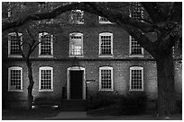Tree and brick building at dusk, Brown University. Providence, Rhode Island, USA (black and white)