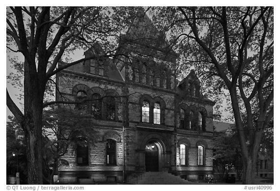 Sayles Hall framed by trees at dusk, Brown University. Providence, Rhode Island, USA (black and white)