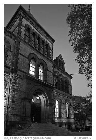 Sayles Hall (1881) at dusk, Brown University. Providence, Rhode Island, USA (black and white)