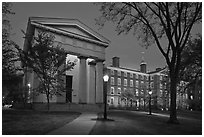 Manning Hall and  University Hall by night, Brown University. Providence, Rhode Island, USA ( black and white)