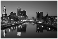 Providence Skyline at dusk. Providence, Rhode Island, USA (black and white)