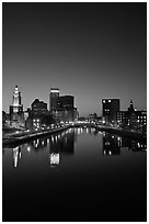Providence Skyline and Seekonk river at dusk. Providence, Rhode Island, USA ( black and white)