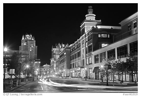 Street in downtown at night. Providence, Rhode Island, USA (black and white)