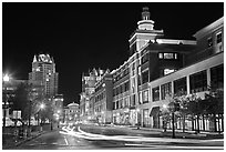 Street in downtown at night. Providence, Rhode Island, USA ( black and white)