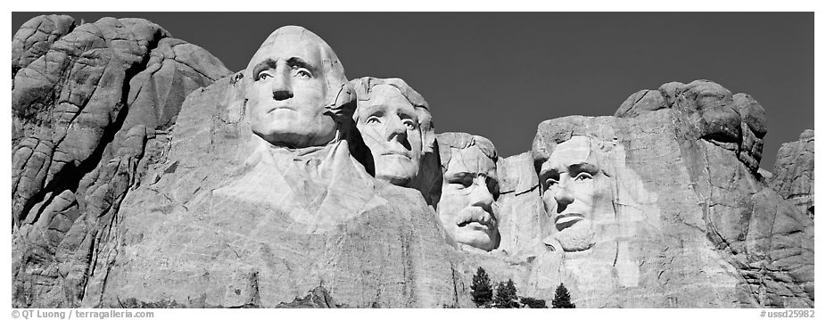 US Presidents, Mount Rushmore National Memorial. South Dakota, USA (black and white)