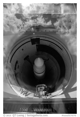 Missile silo with sky reflected in glass. Minuteman Missile National Historical Site, South Dakota, USA (black and white)
