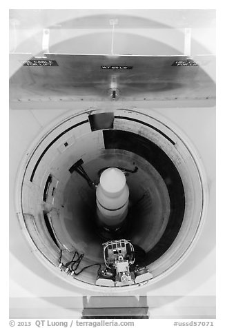 Nuclear missile silo Delta-09. Minuteman Missile National Historical Site, South Dakota, USA (black and white)