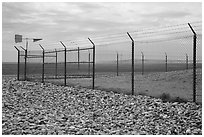 Perimeter enclosure of missile launch facility. Minuteman Missile National Historical Site, South Dakota, USA ( black and white)