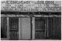Old Longhorn Saloon, Scenic. South Dakota, USA (black and white)