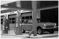 Vintage gas pumps and car, Deadwood. Black Hills, South Dakota, USA ( black and white)