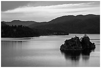 Islets in Pactola Reservoir. Black Hills, South Dakota, USA (black and white)