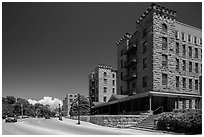 Sandstone buildings, Hot Springs. Black Hills, South Dakota, USA (black and white)